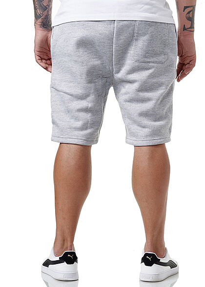 Brave Soul Herren Sweat Shorts Kontrast Streifen 3-Pockets marl hell grau optic weiss