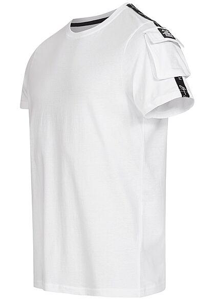 Brave Soul Herren T-Shirt Schultertasche Kontrast Streifen optic weiss