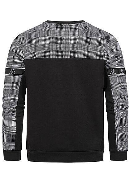 Brave Soul Herren Sweater Hahnentritt Muster oben jet schwarz optic weiss