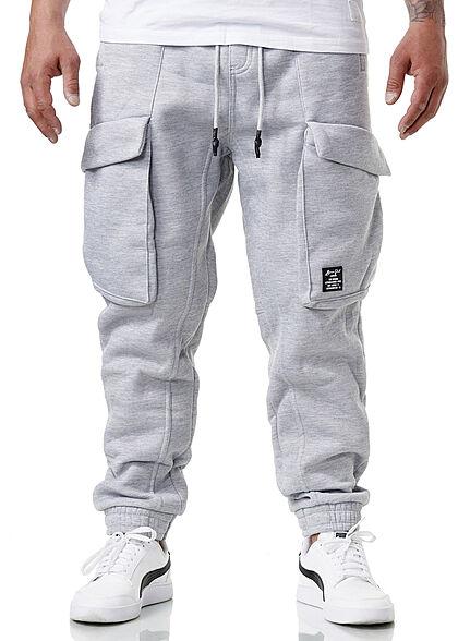 Brave Soul Herren Sweat Pants Cargo Jogger Stoffhose 5-Pockets marl hell grau
