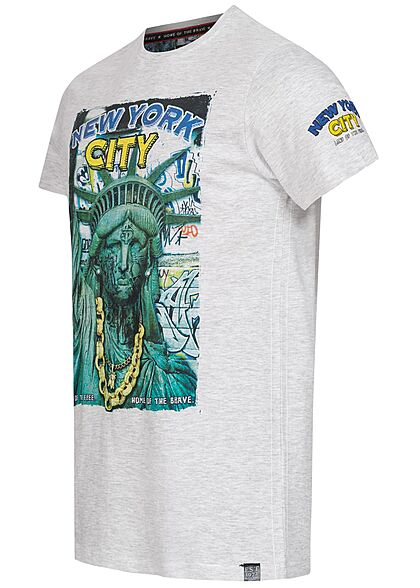 Brave Soul Herren T-Shirt New York City Print ecru marl hell grau