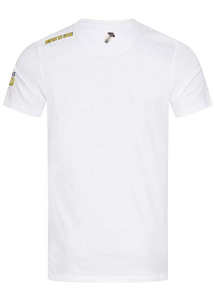 Brave Soul Herren T-Shirt Affe Astronaut Print optic weiss