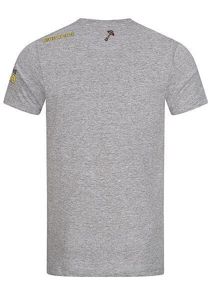 Brave Soul Herren T-Shirt Affe Astronaut Print marl hell grau