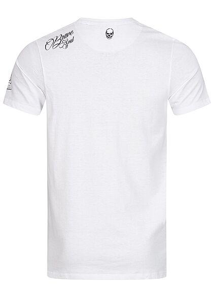 Brave Soul Herren T-Shirt Skelett Print optic weiss