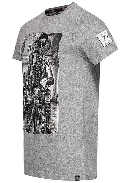 Brave Soul Herren T-Shirt Skelett Print marl hell grau