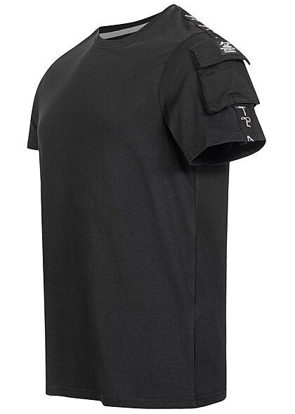 Brave Soul Herren T-Shirt Schultertasche Kontrast Streifen jet schwarz