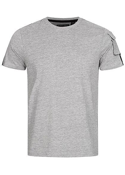 Brave Soul Herren T-Shirt Schultertasche Kontrast Streifen marl hell grau