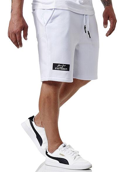 Brave Soul Herren Sweat Shorts Kontrast Zipper Tasche und 3-Pockets optic weiss schwarz