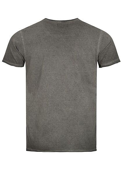 Brave Soul Herren T-Shirt mit Rollsaum cool wash schwarz