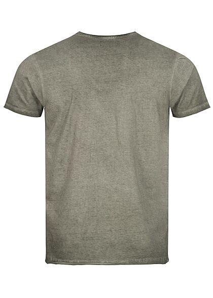 Brave Soul Herren T-Shirt mit Rollsaum cool wash oliv grün
