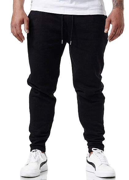 Brave Soul Herren Sweat Pants Skinny Jogger Stoffhose 2-Pockets jet schwarz