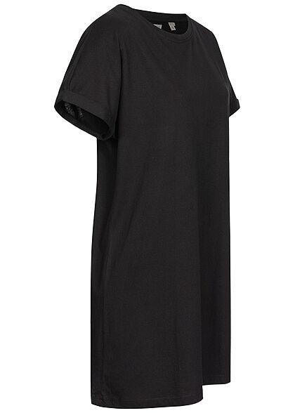 Brave Soul Damen Oversized Kleid mit Ärmelumschlag schwarz