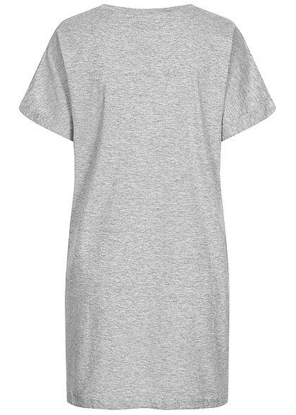 Brave Soul Damen Oversized Kleid mit Ärmelumschlag silber grau