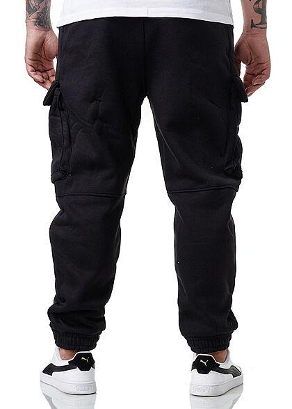 Brave Soul Herren Sweat Pants Cargo Jogger Stoffhose 5-Pockets jet schwarz