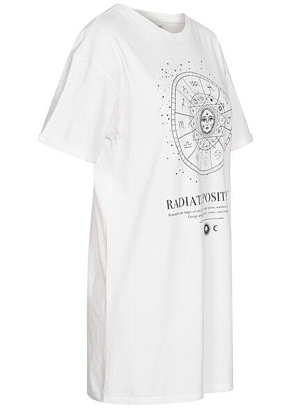 Brave Soul Damen Oversized Mini Kleid Mandala Print weiss schwarz