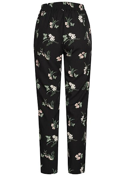 Vero Moda Damen NOOS Viskose Sommer Hose Blumen Print 2-Pockets schwarz grün