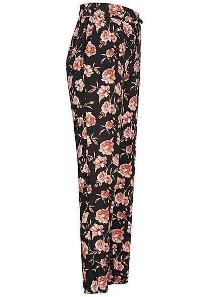 Vero Moda Damen NOOS Viskose Sommer Hose Rosen Print 2-Pockets schwarz rosa