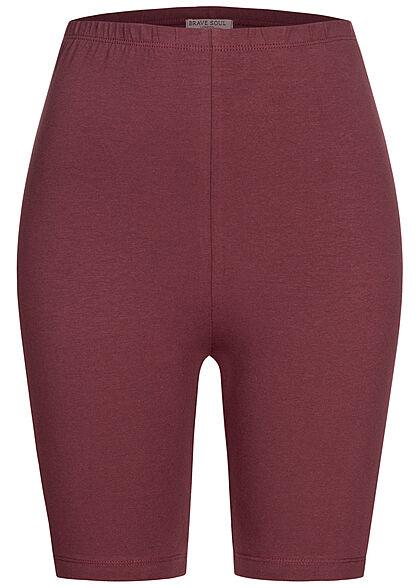 Brave Soul Damen Zweiteiler Set Cropped Top und Radler Shorts Hope Print burgundy rot