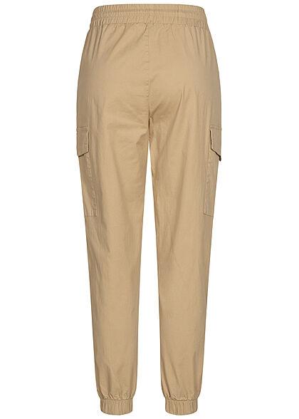 Brave Soul Damen Ankle Cargo Stoffhose 4-Pockets Tunnelzug sand beige