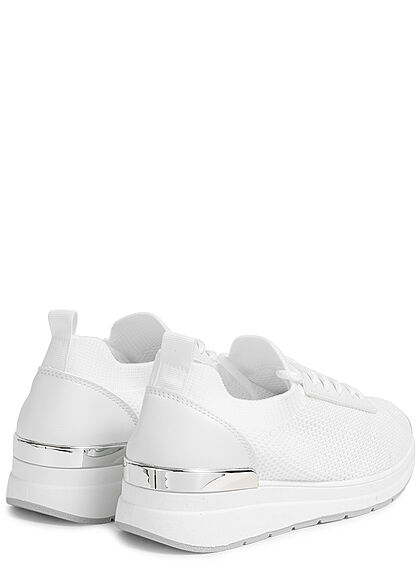 Seventyseven Lifestyle Damen Schuh Mesh Sneaker mit Applikation Materialmix weiss