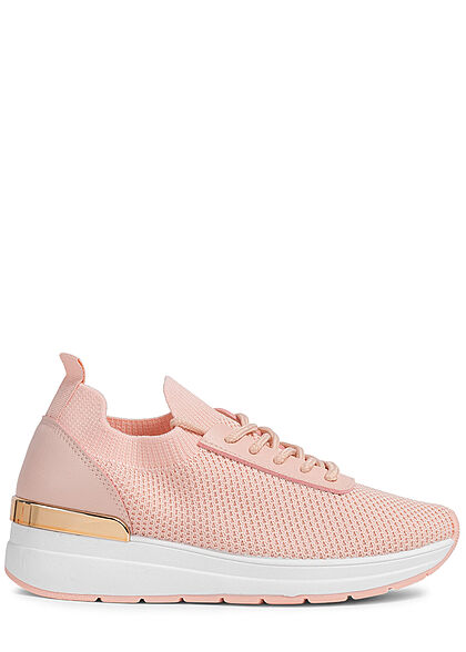 Seventyseven Lifestyle Damen Schuh Mesh Sneaker mit Applikation Materialmix rosa
