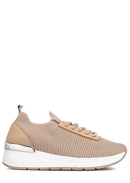 Seventyseven Lifestyle Damen Schuh Mesh Sneaker mit Applikation Materialmix beige