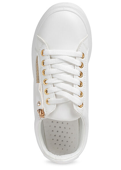 Seventyseven Lifestyle Damen Schuh Kunstleder Sneaker mit Deko Zipper weiss gold