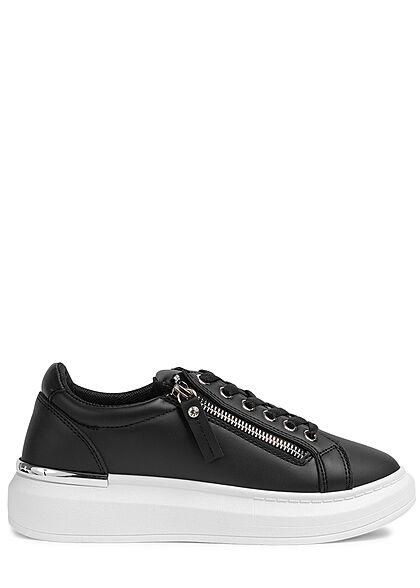 Seventyseven Lifestyle Damen Schuh Kunstleder Sneaker mit Deko Zipper schwarz silber
