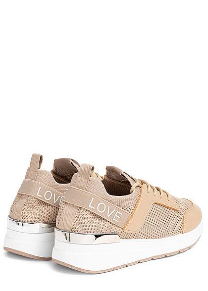 Seventyseven Lifestyle Damen Schuh Mesh Sneaker teilw. Kunstleder LOVE beige