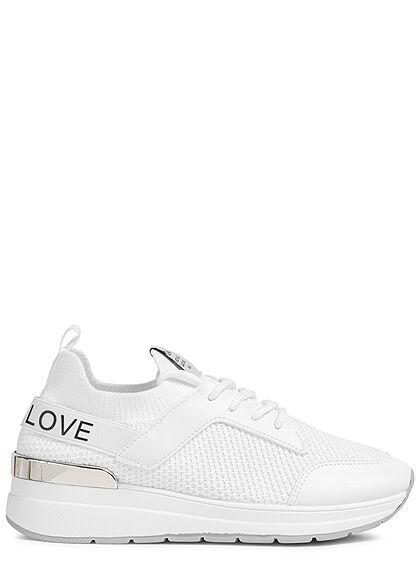 Seventyseven Lifestyle Damen Schuh Mesh Sneaker teilw. Kunstleder LOVE weiss