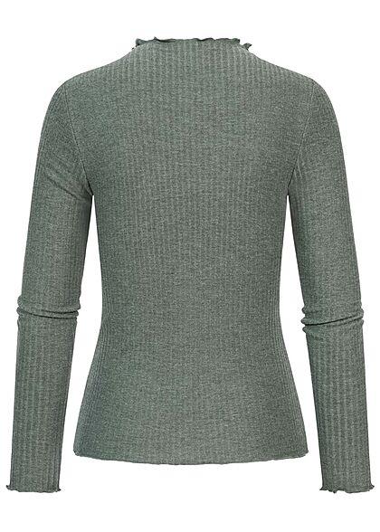 ONLY Damen NOOS Ribbed Frill Longsleeve Pullover balsam grün