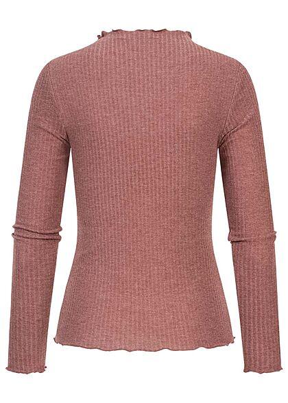 ONLY Damen NOOS Ribbed Frill Longsleeve Pullover rose braun