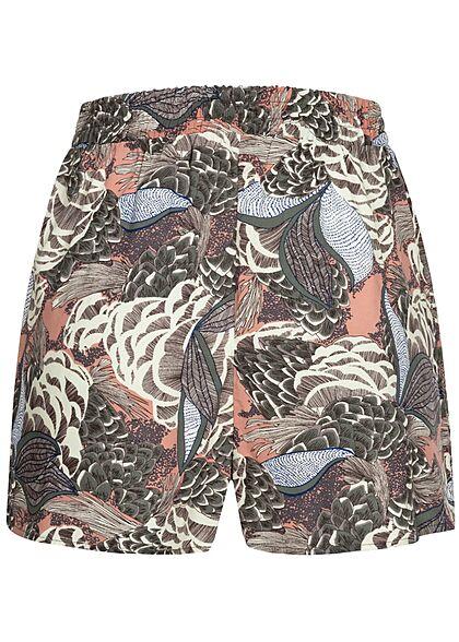 ONLY Damen leichte Sommer Shorts Floraler Surfer Print ash rose multicolor