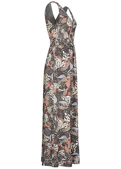 ONLY Damen V-Neck Maxi Kleid Taillengummizug Floraler Surf Print ash rose multicolor