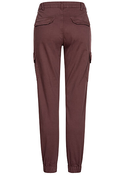 Urban Classics Damen High-Waist Cargo Stoffhose 6-Pockets cherry bordeaux rot