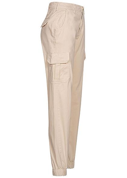 Urban Classics Damen High-Waist Cargo Stoffhose 6-Pockets sand weiss