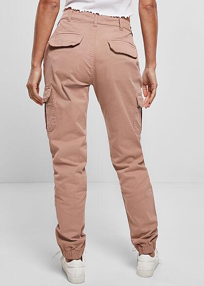 Urban Classics Damen High-Waist Cargo Stoffhose 6-Pockets dusk dunkel rosa