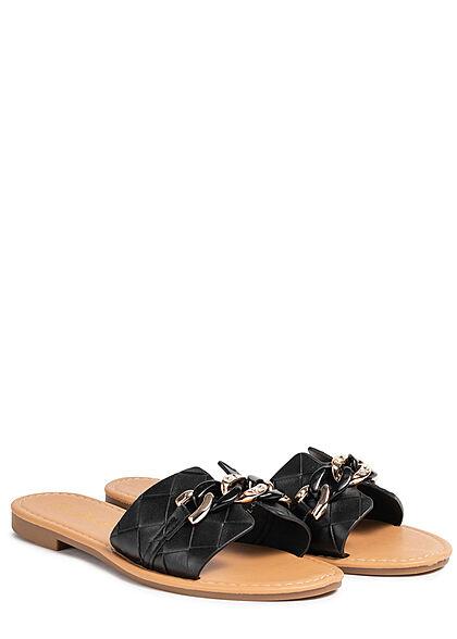 Seventyseven Lifestyle Damen Schuh Kunstleder Sandale Schmuckapplikation schwarz