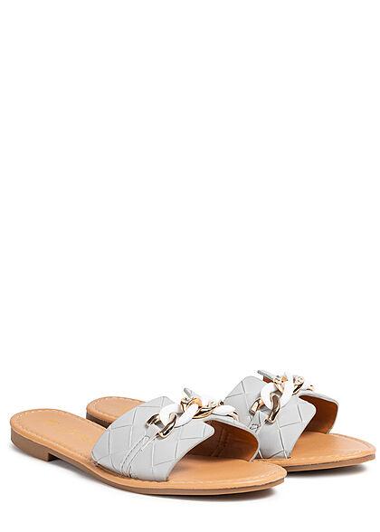 Seventyseven Lifestyle Damen Schuh Kunstleder Sandale Schmuckapplikation grau