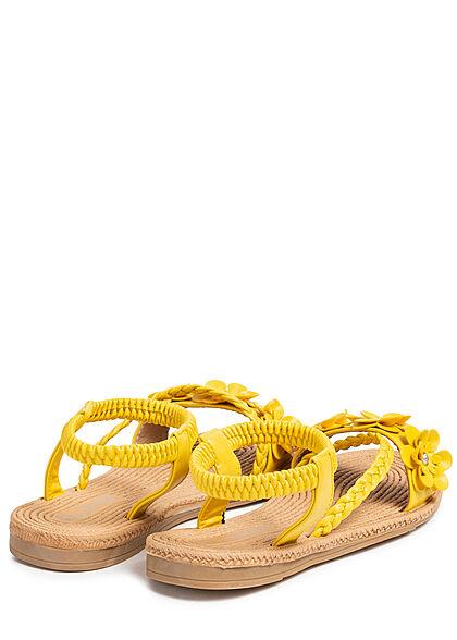 Seventyseven Lifestyle Damen Schuh Kunstleder Sandale Deko Blumen gelb