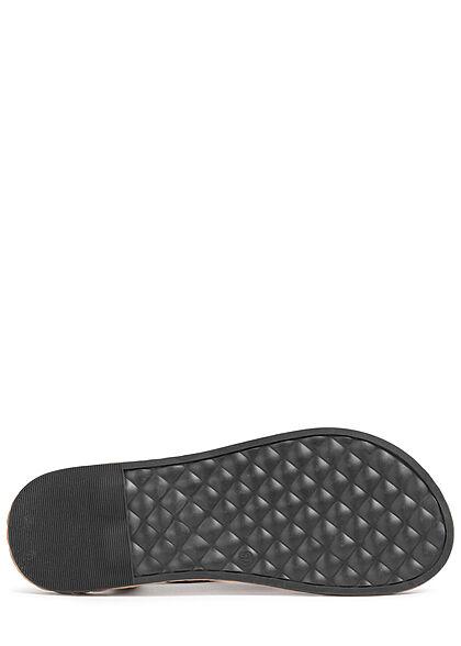 Seventyseven Lifestyle Damen Schuh Sandale Zehensteg Tüll Blumen Velouroptik schwarz