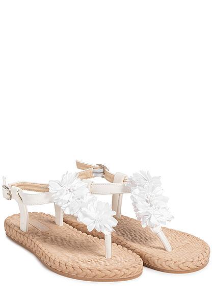 Seventyseven Lifestyle Damen Schuh Sandale Zehensteg Tüll Blumen Velouroptik weiss