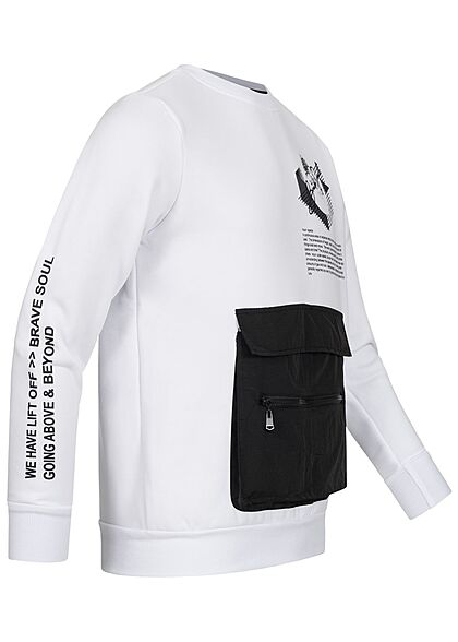 Brave Soul Herren Sweater Zipper Fronttasche Logo Text Print optic weiss