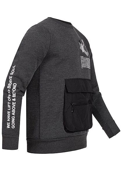 Brave Soul Herren Sweater Zipper Fronttasche Logo Text Print charcoal dunkel grau