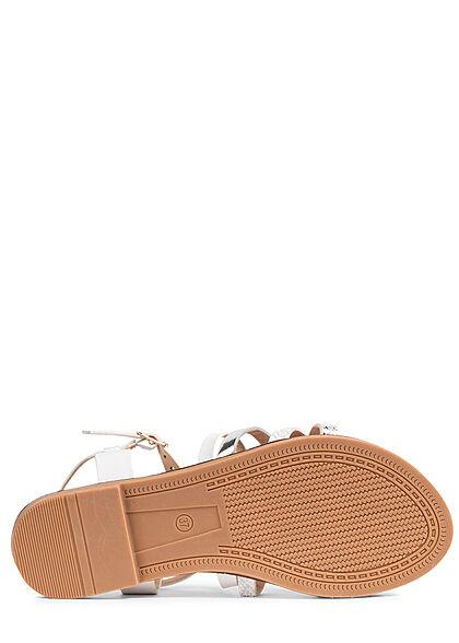 Seventyseven Lifestyle Damen Schuh 2-Tone Riemchen Sandale weiss silber