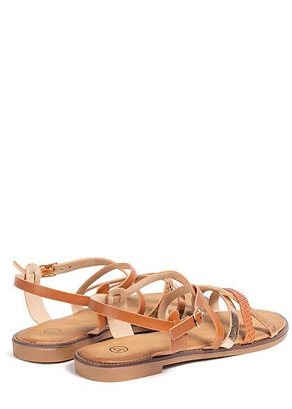 Seventyseven Lifestyle Damen Schuh 2-Tone Riemchen Sandale camel braun rose