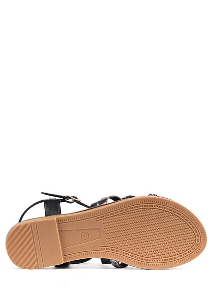 Seventyseven Lifestyle Damen Schuh 2-Tone Riemchen Sandale schwarz silber