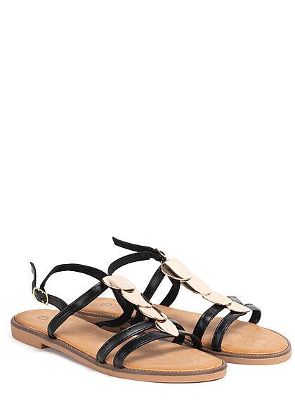 Seventyseven Lifestyle Damen Schuh Kunstleder Sandale Deko Plättchen vorne schwarz