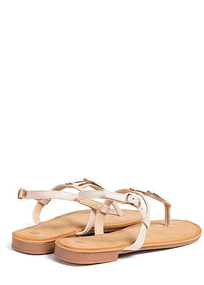 Seventyseven Lifestyle Damen Schuh Zehensteg Sandale Deko Plättchen vorne beige