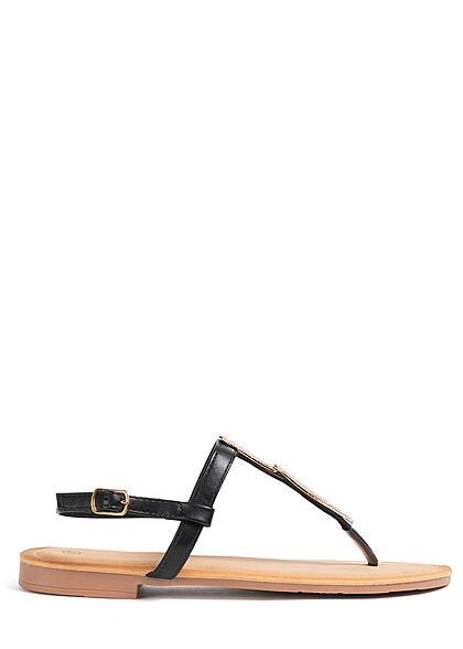 Seventyseven Lifestyle Damen Schuh Zehensteg Sandale Deko Plättchen vorne schwarz